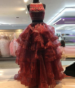 Burgundy two pieces organza long prom dress, evening dress CD888