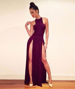 Simple Burgundy chiffon long prom dress. evening dress CD890