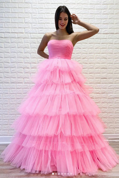 Pink Tulle Strapless A Line Layered Prom Gown, Formal Dress CD893