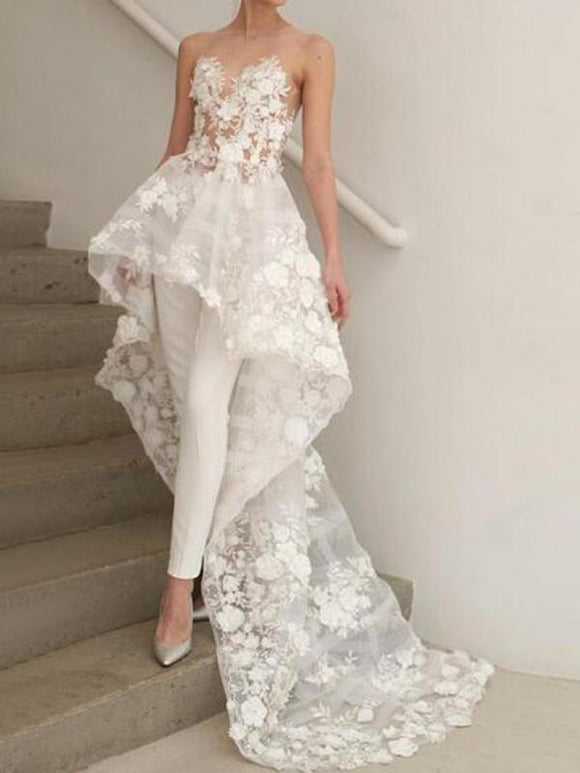 Ankle-Length Scoop Sleeveless Watteau Garden/Outdoor Wedding Dress CD894