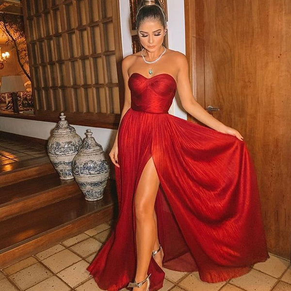 Red Chiffon Sweetheart A-line Sexy Slit Backless Prom Dresses CD900
