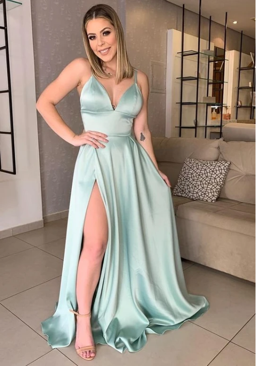 Sexy Long Prom Dresses with Slit Fashion School Party Dress Winter Dance Dress CD902