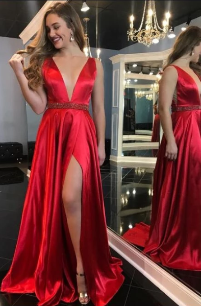 Sexy Long Prom Dress with Beading,Fashion Dance Dress,Sweet 16 Quinceanera Dress CD905