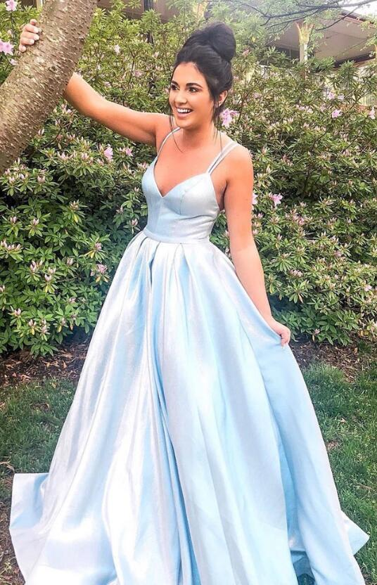 V-neck Simple Long Prom Dress,Fashion Dance Dress,Sweet 16 Quinceanera Dress CD907