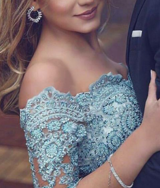 Graceful Satin Chiffon Off-the-shoulder Neckline 3/4 Length Sleeves A-line Prom Dress With Beaded Lace Appliques CD910