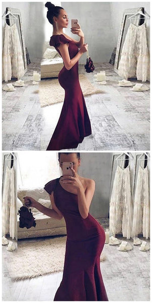 Mermaid One Shoulder Sweep Train Burgundy Stretch Satin Prom Dress with Ruffles CD914