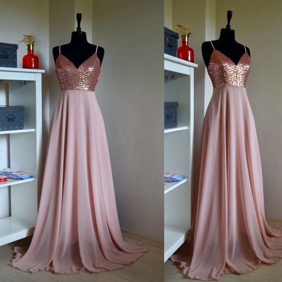 Charming Chiffon With Top Sequin Rose Gold Bridesmaid Dress, Wedding Reception Dress, Sequin Pink Prom Dress CD918
