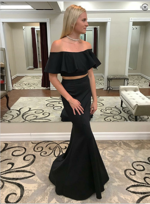 Two Piece Mermaid Off-the-Shoulder Black Prom Dress with Ruffles CD921