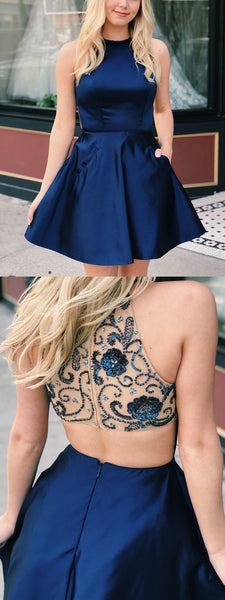A-line Navy Blue Short Homecoming Dress with Beaded Back CD923