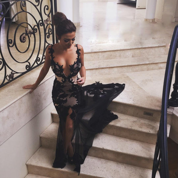 Black Sheer Tulle Mermaid Prom Dresses with Lace Appliques CD924