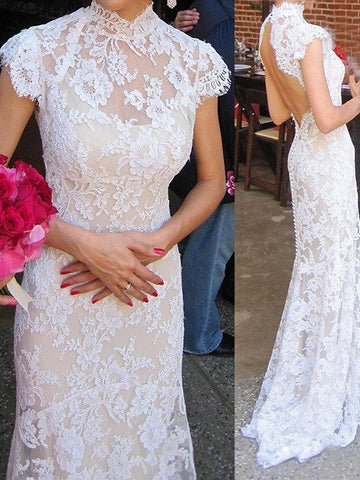 Illusion High Collar Column Lace Wedding Dress with Open Back High Neck Lace Mermaid Wedding Dresses CD927
