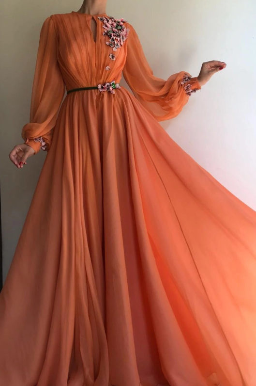 A-line High Neck Hand-Made Flowers Long Sleeves Long Chiffon Prom Dresses Long Evening Dress CD929