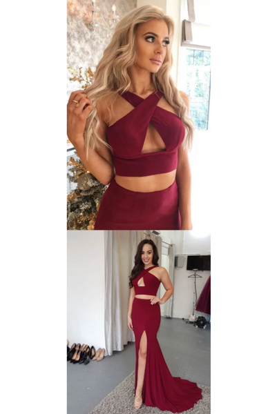 Two Piece Prom Dresses Trumpet Mermaid Sleeveless Burgundy Long Slit Cheap Prom Dress CD931
