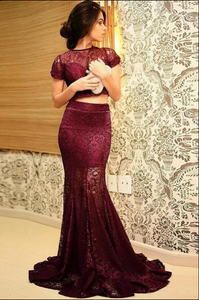 Mermaid Round Neck Short Sleeves Sweep Train Wine Lace Prom Dress CD934