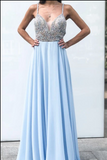A-Line Spaghetti Straps Backless Floor-Length Light Blue Beaded Chiffon Prom Dress CD936