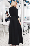 A-Line V-Neck 3/4 Sleeves Cold Shoulder Black Long Prom Dress with Split Sash CD938