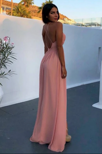 A-Line Deep V-Neck Backless Floor-Length Pink Chiffon Prom Dress with Split CD939