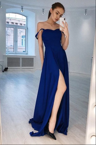 A-Line Straps Floor-Length Royal Blue Prom Dress with Split CD941