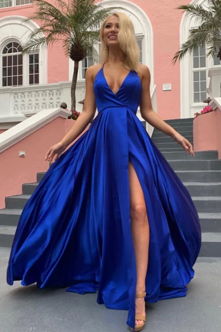 A-Line Halter Backless Sweep Train Royal Blue Prom Dress with Split CD942