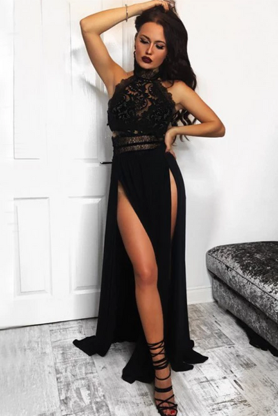 A-Line High Neck Floor-Length Black Prom Dress with Lace Split CD944