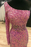 Fancy One-Shoulder Mermaid Illusion Back Prom Dress Evening Gowns CD946