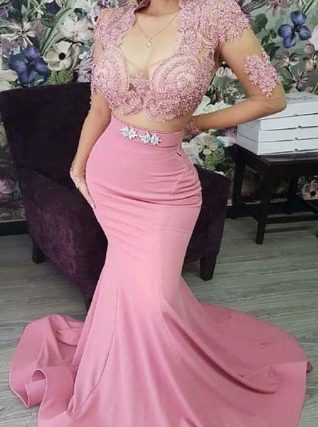 Mermaid Pink Two Piece Prom Dress CD951