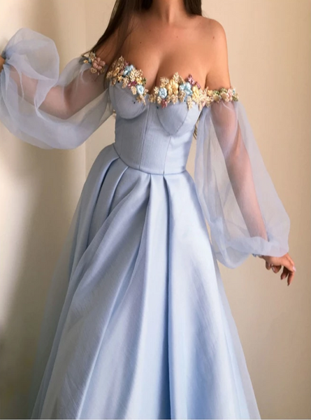 A Line Blue Satin Prom Dress with Long Sleeves CD952