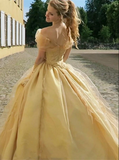 Yellow Organza Off The Shoulder Ball Gown Prom Dresses CD956