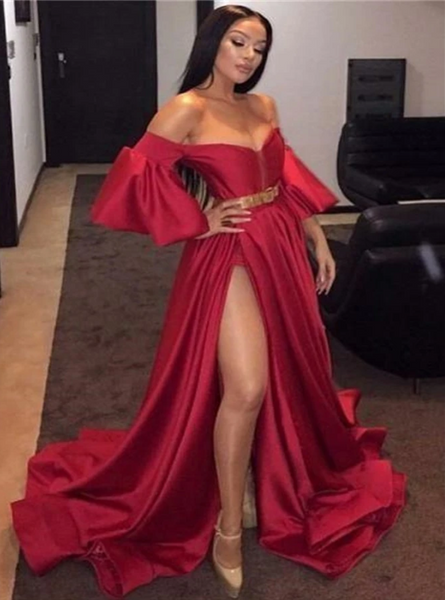 A Line Off the Shoulder Red Split Prom Dress with Puffy Sleeves CD959