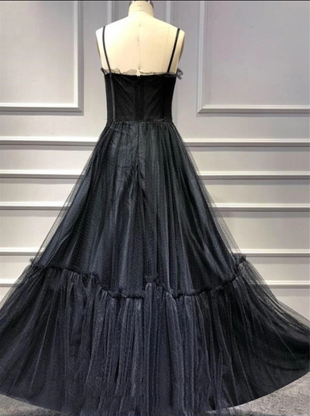 Black Tulle Floral Appliques Spaghetti Strap A Line Prom Dresses CD961