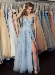 A Line V Neck Tulle Beadings Prom Dress with Slit CD963