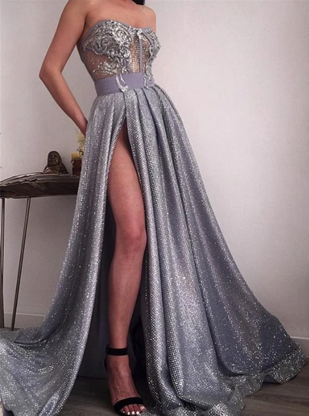 Silver Sequin Applique Strapless Illusion Prom Dresses CD968