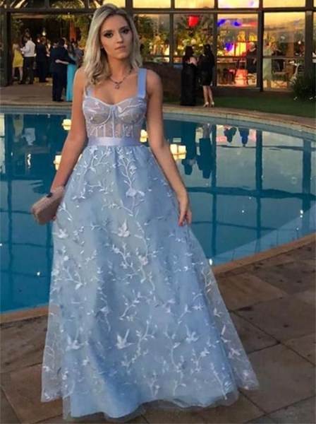 A Line Pale Blue 3D Lace Sweetheart Prom Dresses CD969
