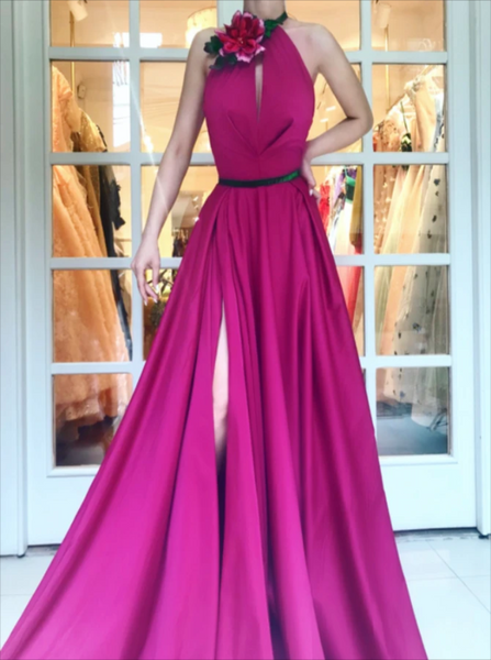 Halter A Line Floor Length Prom Dress with Slit CD972