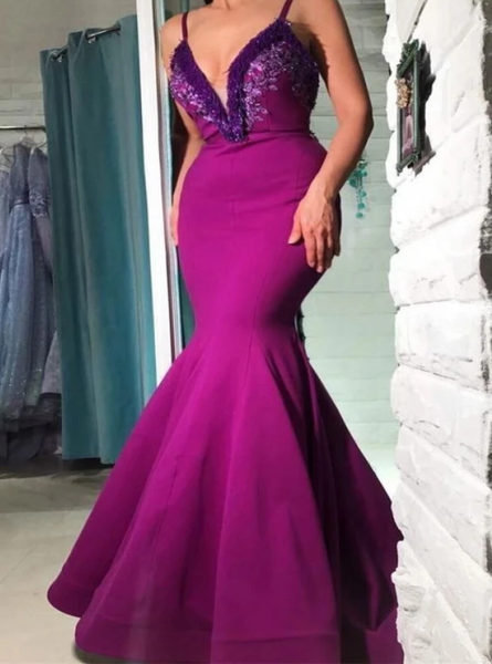 Mermaid V Neck Purple Prom Dress with Appliques CD975