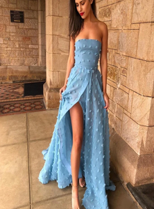 A Line Slit Backless Applique Prom Dress CD976