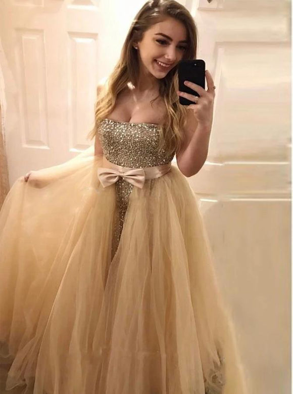 Mermaid Sweetheart Beadings Prom Dress with Detachable Train CD983