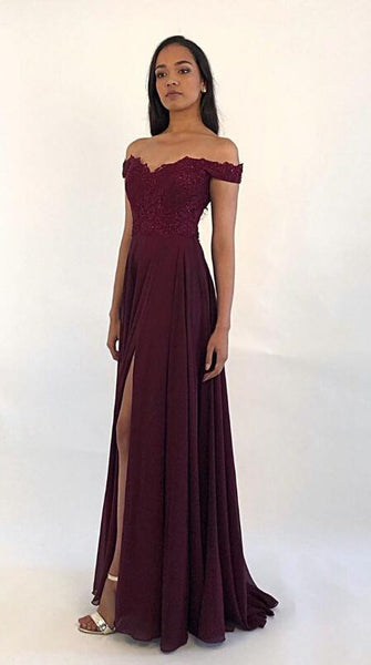 Off Shoulder Long Prom Dress with Applique and Beading,8th Graduation Dress, Evening Gown,Winter Formal Dress CD986