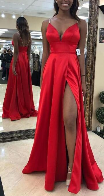 Sexy Long Prom Dress with Slit,8th Graduation Dress, Evening Gown,Winter Formal Dress CD987