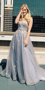 A-Line Sweetheart Spaghetti Straps Chic Appliques Long Prom Dress CD988