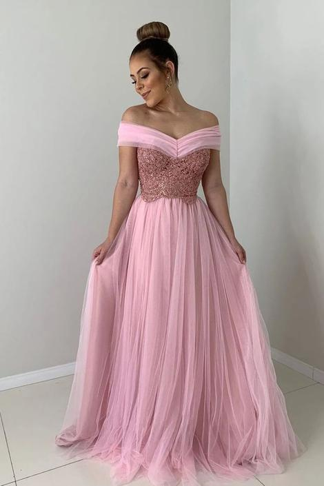 A-line Off the Shoulder Pink Tulle Long Prom Dress with Lace Appliques CD991