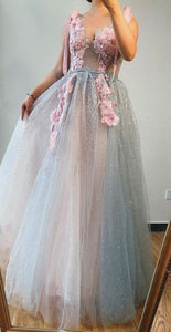 A-line V neck Beaded Pink Long Prom Dresses With Floral Beautiful Evening Gowns CD995