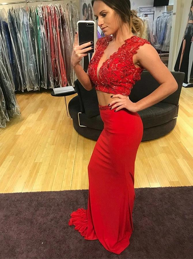 Two Piece Sexy Mermaid Red Satin Deep V-Neck Open Back Prom Dress with Beading CD999