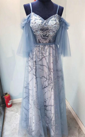 Fairy Blue Sheer Applique Off-the-shoulder Prom Dress,DR0331