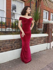 Dark red Velvet off the Shoulder evening Prom Dress,DR0035