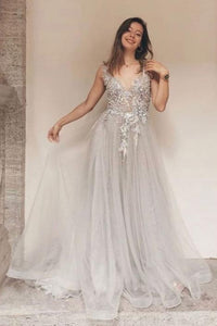 Gray v neck tulle lace long prom dress gray lace formal dress,DR0037