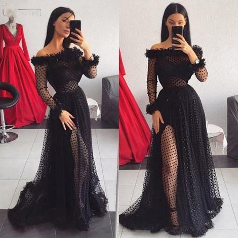 Black Dot Tulle Long Sleeve Prom Gown Formal,DR0053