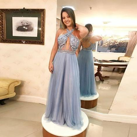 Halter Prom Dress For Girl A Line Formal Gown Long Beaded Bodice Open Back ,DR0054