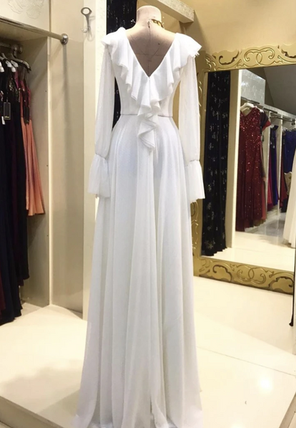White long sleeve prom dress evening dress,DR0065