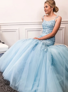 Blue tulle lace long prom dress evening dress,DR0099